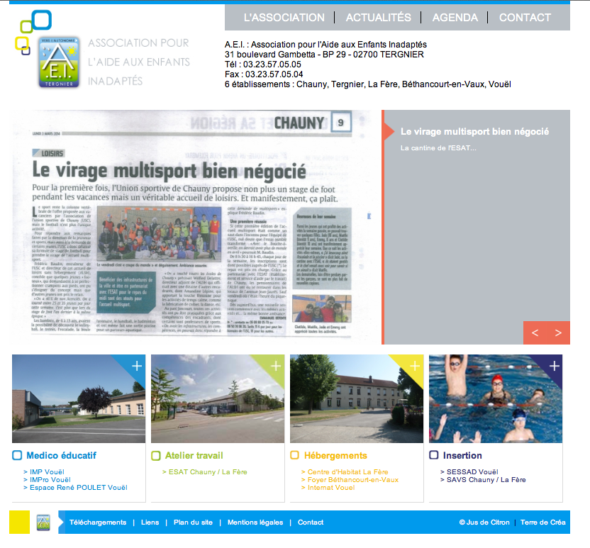Site web AEI Tergnier footer
